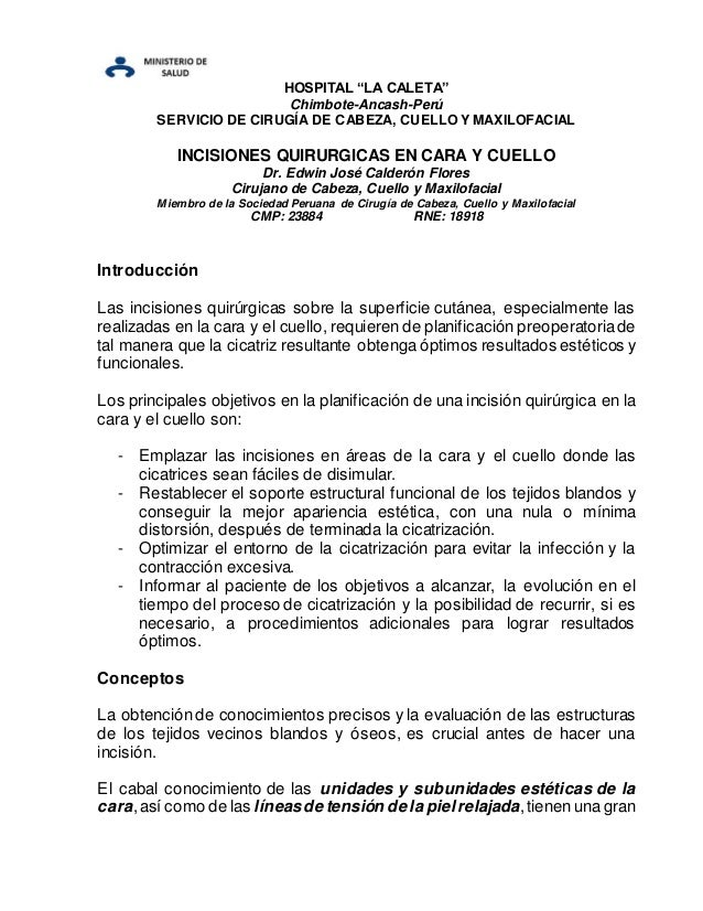 """HOSPITAL """"LA CALETA"""" Chimbote-Ancash-Perú SERVICIO DE CIRUGÍA DE CABEZA, CUELLO Y MAXILOFACIAL INCISIONES QUIRURGICAS EN C..."""