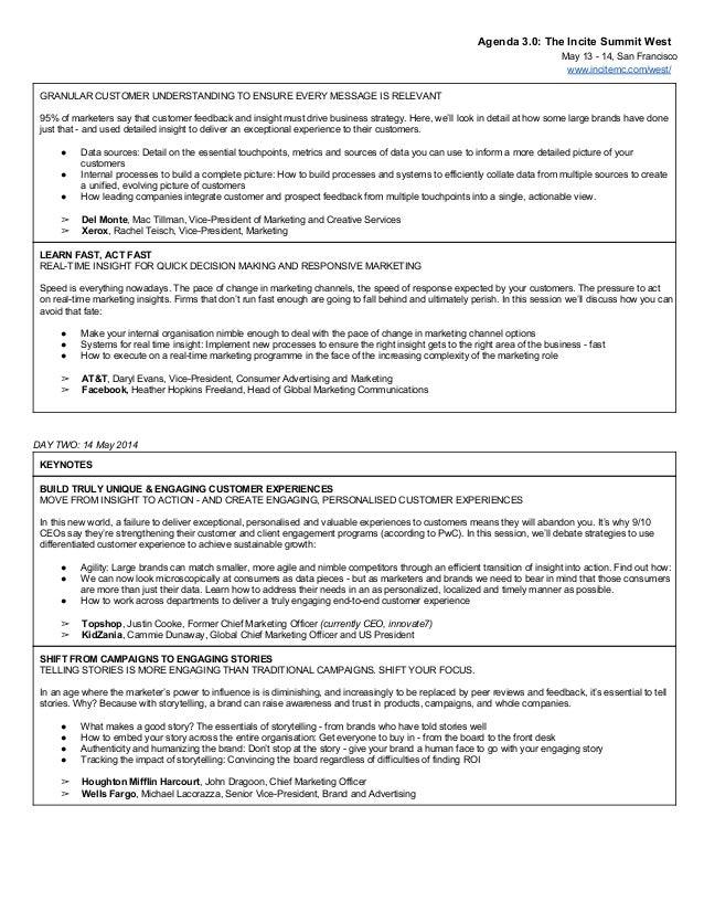 Agenda3.0:TheInciteSummitWest May1314,SanFrancisco www.incitemc.com/west/ GRANULARCUSTOMERUNDERSTANDINGTOEN...