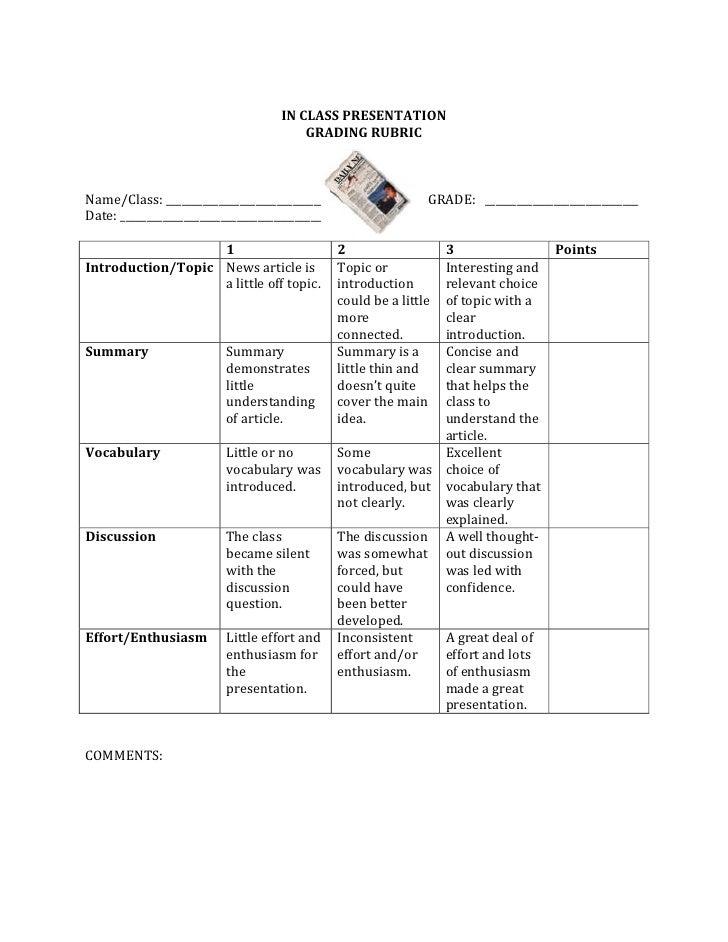 class presentation rubric
