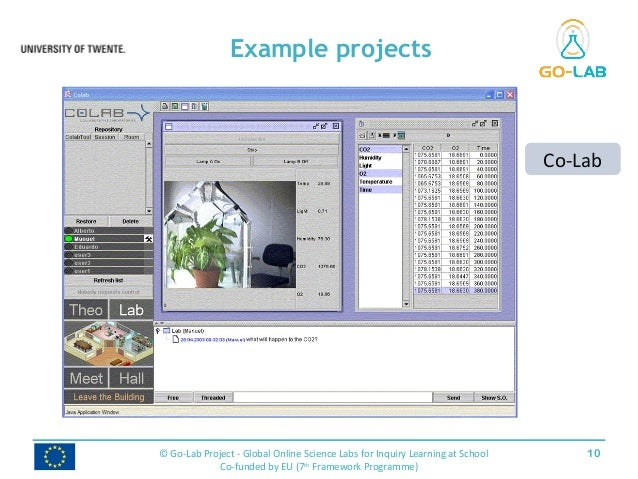 Example projects 10© Go-Lab Project - Global Online Science Labs for Inquiry Learning at School Co-funded by EU (7th Frame...