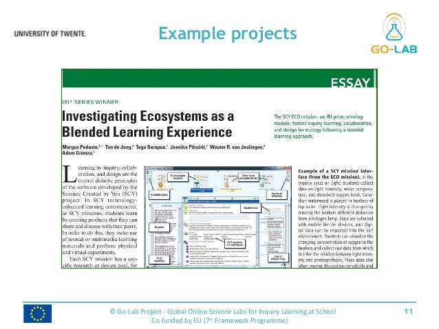 Example projects 11© Go-Lab Project - Global Online Science Labs for Inquiry Learning at School Co-funded by EU (7th Frame...