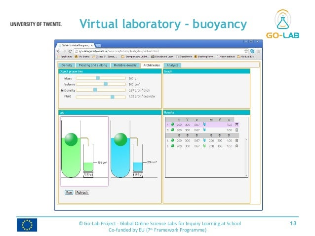 Virtual laboratory - buoyancy 13© Go-Lab Project - Global Online Science Labs for Inquiry Learning at School Co-funded by ...