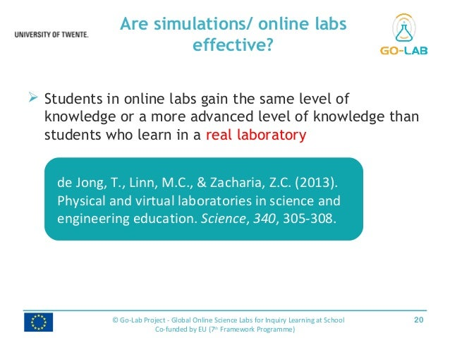  Students in online labs gain the same level of knowledge or a more advanced level of knowledge than students who learn i...