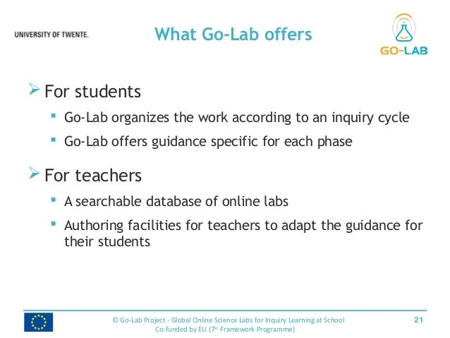  For students  Go-Lab organizes the work according to an inquiry cycle  Go-Lab offers guidance specific for each phase ...