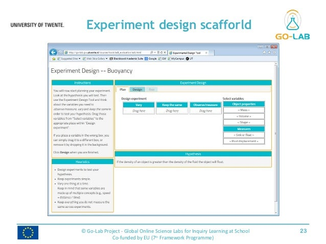 Experiment design scafforld 23© Go-Lab Project - Global Online Science Labs for Inquiry Learning at School Co-funded by EU...