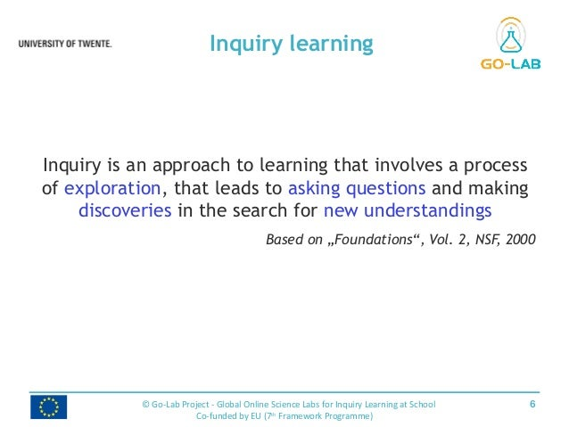 Inquiry is an approach to learning that involves a process of exploration, that leads to asking questions and making disco...