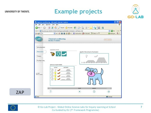 Example projects 7© Go-Lab Project - Global Online Science Labs for Inquiry Learning at School Co-funded by EU (7th Framew...