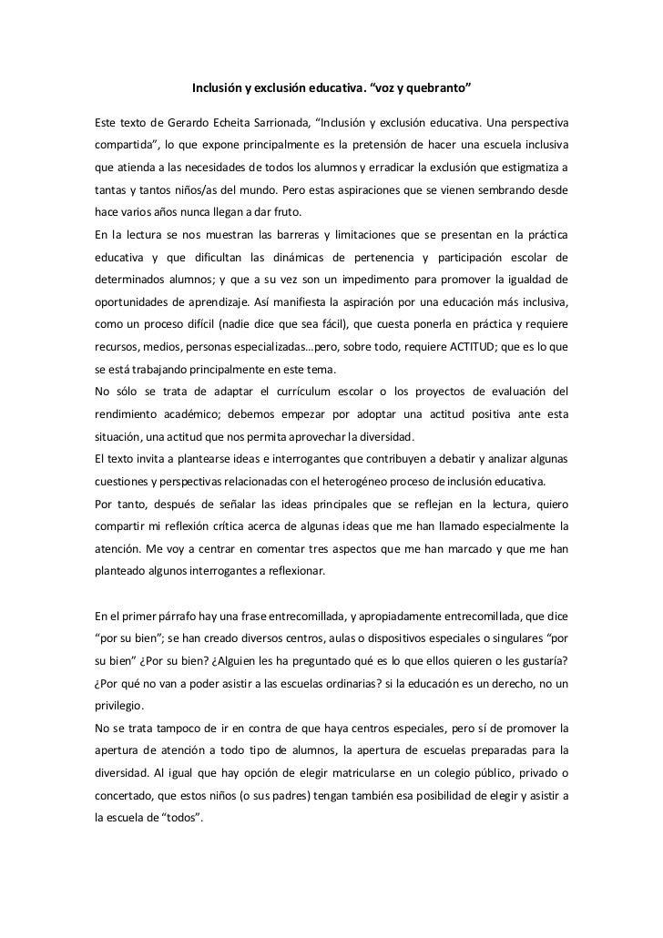 """Inclusión y exclusión educativa. """"voz y quebranto""""Este texto de Gerardo Echeita Sarrionada, """"Inclusión y exclusión educati..."""
