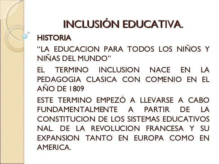 Inclusion educativa diapositivas 2 for La accion educativa en el exterior