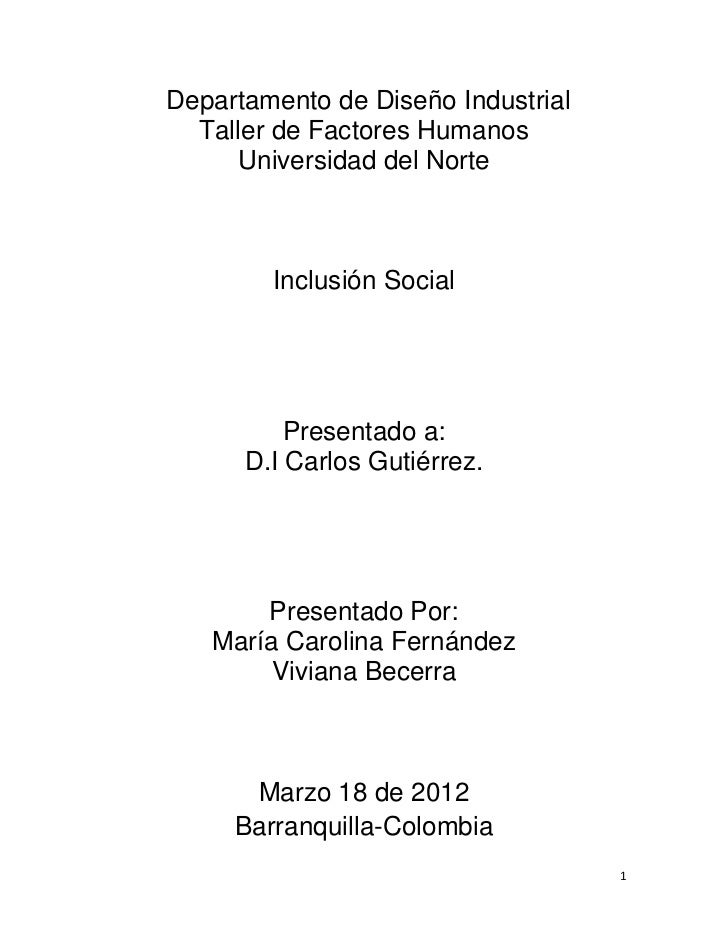 Departamento de Diseño Industrial  Taller de Factores Humanos      Universidad del Norte        Inclusión Social          ...