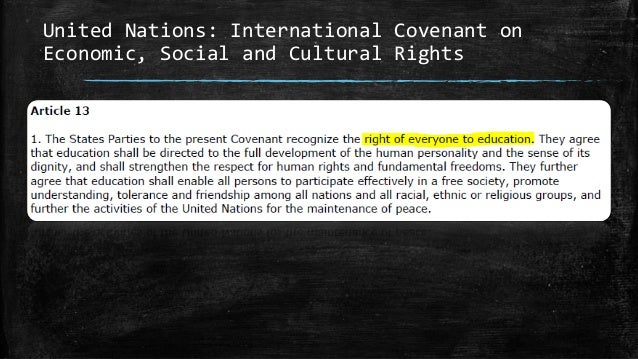 United Nations: International Covenant on Economic, Social and Cultural Rights
