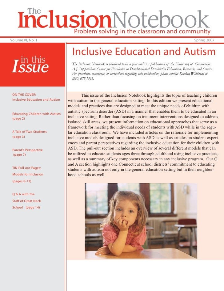 The    InclusionNotebook                Problem solving in the classroom and communityVolume VI, No. 1                    ...