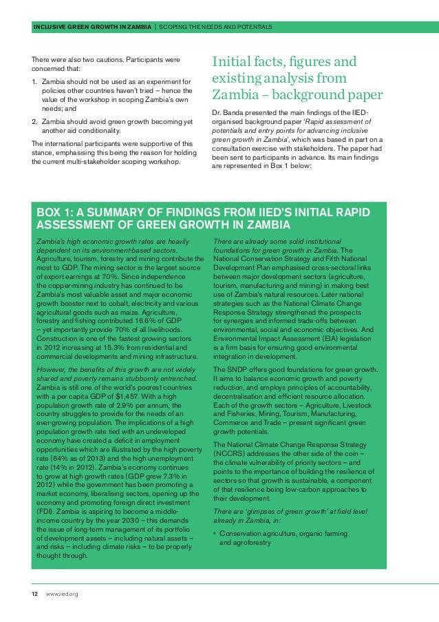 inclusive growth in zambia pdf