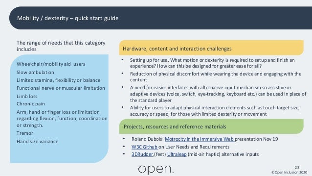 ©Open Inclusion 2020 28 Mobility / dexterity – quick start guide The range of needs that this category includes Wheelchair...