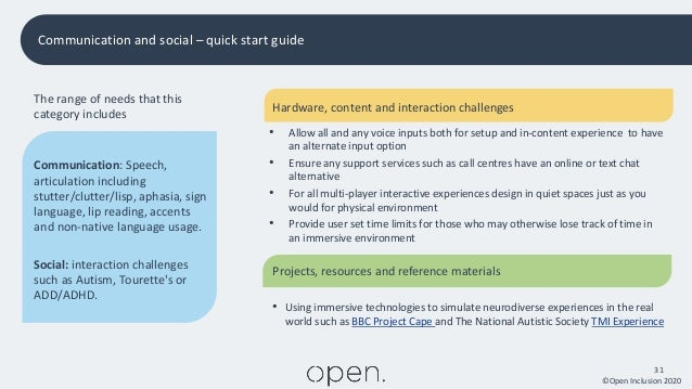 ©Open Inclusion 2020 31 Communication and social – quick start guide The range of needs that this category includes Commun...