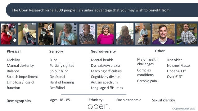 ©Open Inclusion 2020 Demographics Ages: 18 - 85 Ethnicity Socio-economic Sexual identity Physical Mobility Manual dexterit...