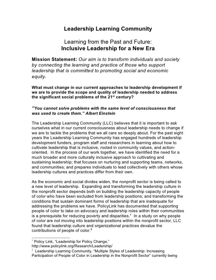 Leadership Learning Community                    Learning from the Past and Future:                  Inclusive Leadership ...