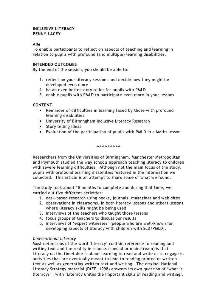 INCLUSIVE LITERACYPENNY LACEYAIMTo enable participants to reflect on aspects of teaching and learning inrelation to pupils...
