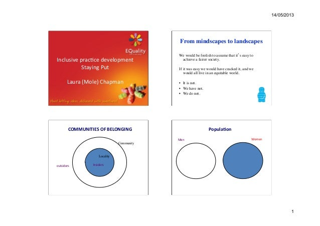 14/05/20131Inclusive prac.ce development  Staying Put   Laura (Mole) Chapman  From mindscapes to l...