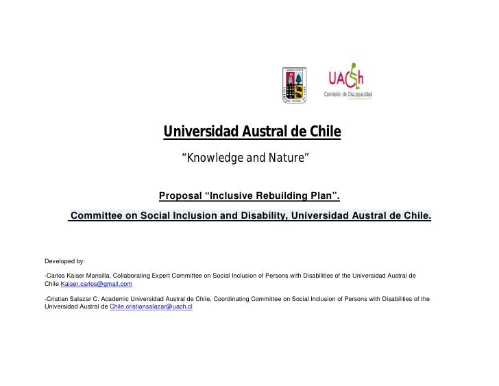 "Universidad Austral de Chile                                                  ""Knowledge and Nature""                      ..."