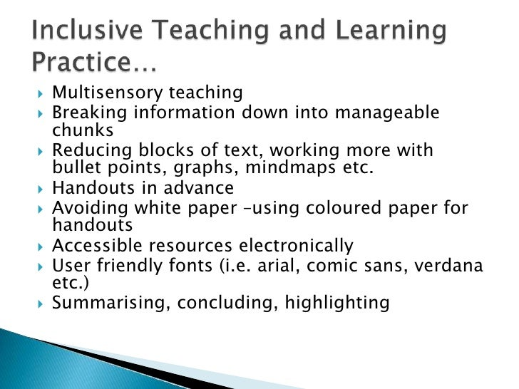 """the inclusive learning environment """"inclusive learning and teaching recognises all student's entitlement to a learning  experience that respects diversity, enables participation, removes barriers and."""
