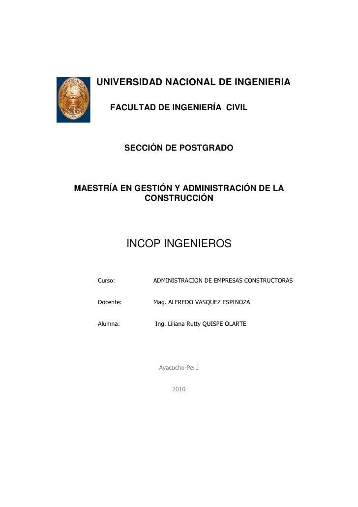 UNIVERSIDAD NACIONAL DE INGENIERIA<br />FACULTAD DE INGENIERÍA  CIVIL<br />SECCIÓN DE POSTGRADO<br />MAESTRÍA E...