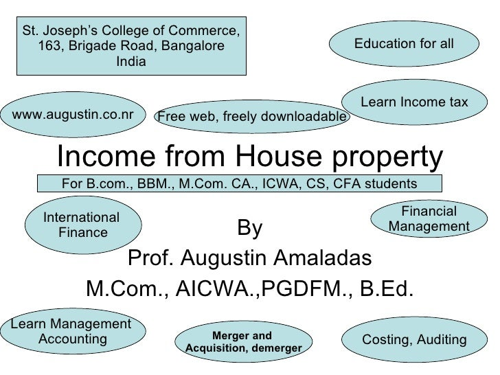 Income from House property By Prof. Augustin Amaladas M.Com., AICWA.,PGDFM., B.Ed. Education for all St. Joseph's College ...
