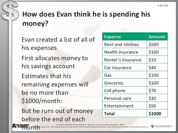 Income and Expense Statement Presentation