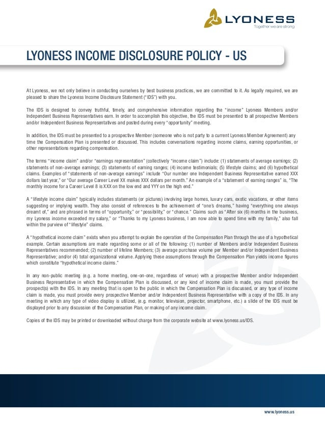 Income Disclosure Statement Slide 2