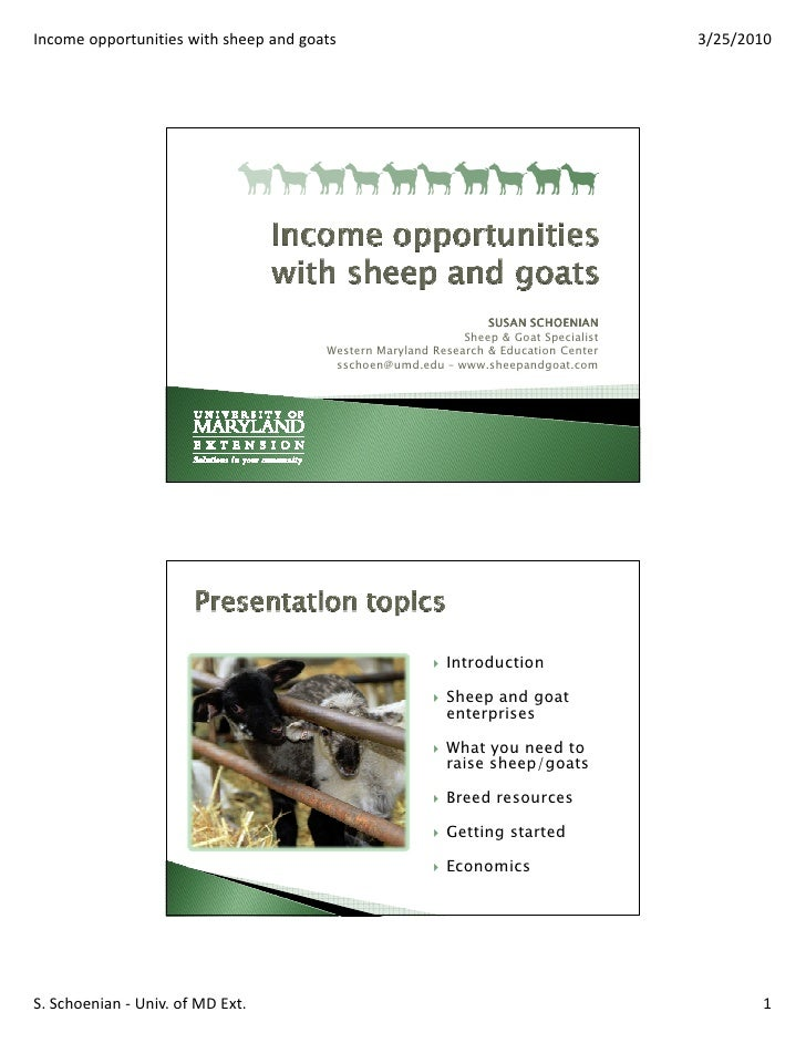 Income opportunities with sheep and goats                                              3/25/2010                          ...