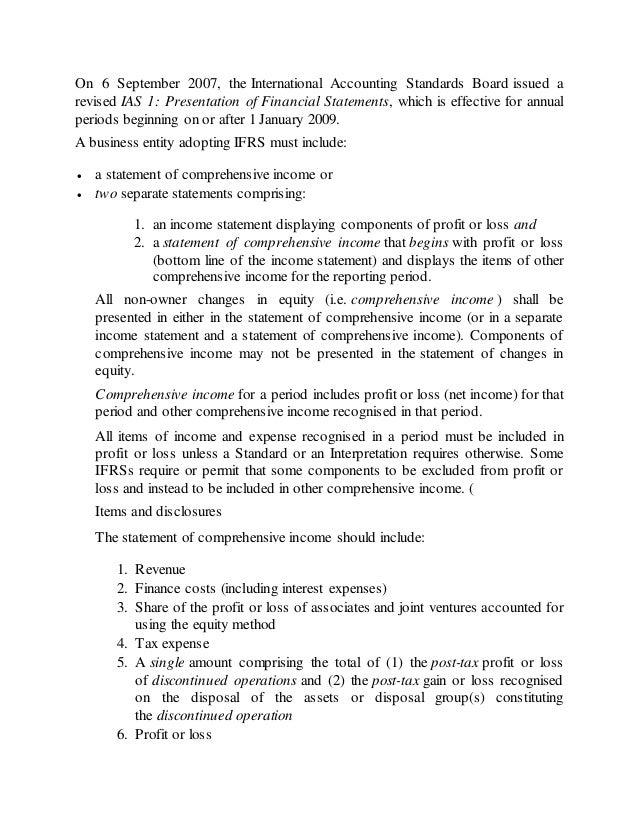 standard profit and loss statement