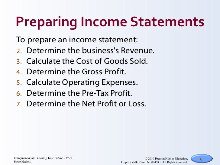 Income statements cash flow – Income Statements
