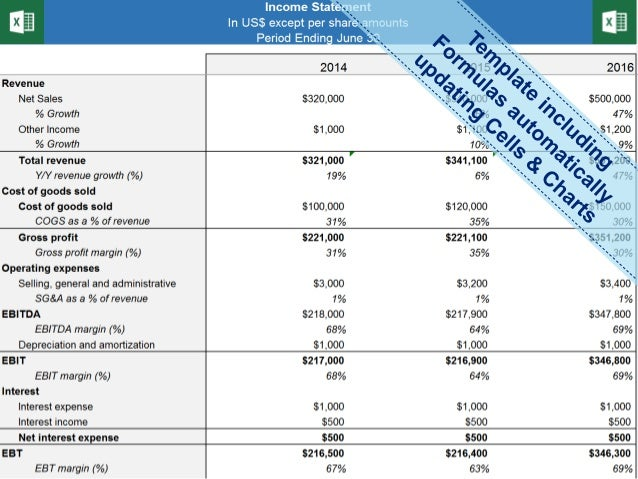 Income Statement Template   Profit and Loss Statement Template