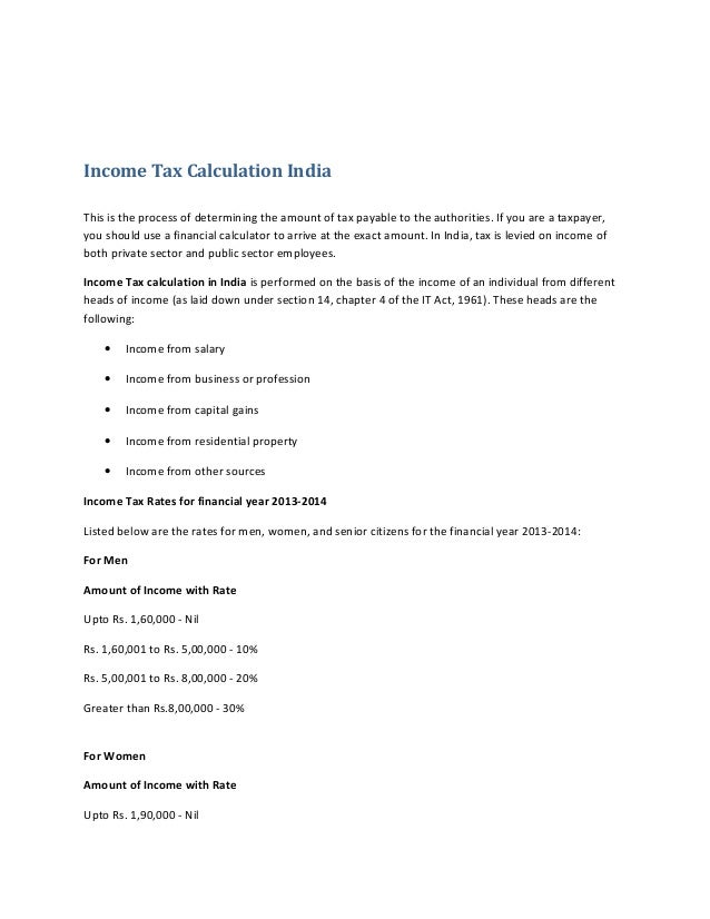 Income Tax Calculation India