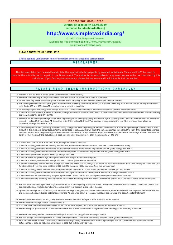 Income Tax Calculator                                                           version 13 updated on 11.06.2010          ...