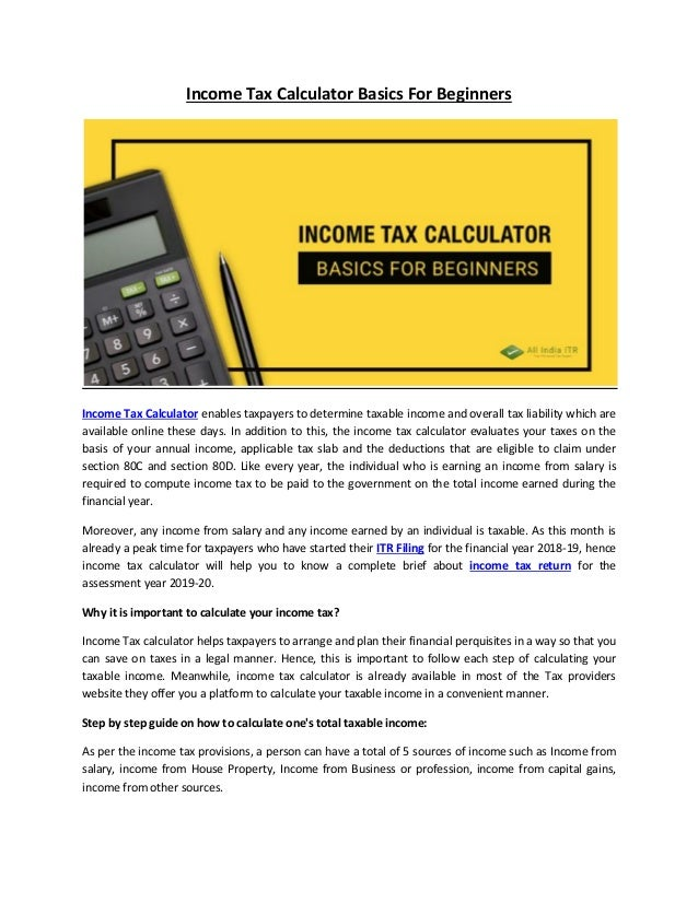Income Tax Calculator Basics For Beginners
