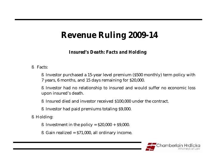 Revenue Ruling 2009-14                   Insured's Death: Facts and Holding  § Facts:     § Investor purchased a 15-year l...