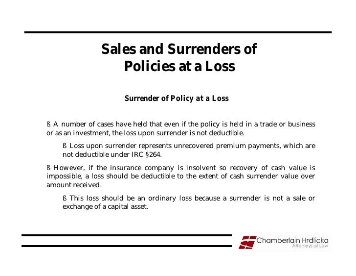 Sales and Surrenders of                     Policies at a Loss                          Surrender of Policy at a Loss   § ...