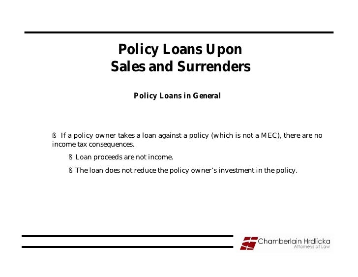 Policy Loans Upon                   Sales and Surrenders                          Policy Loans in General    § If a policy...