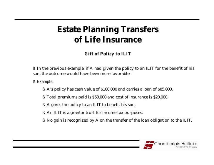 Estate Planning Transfers                  of Life Insurance                             Gift of Policy to ILIT  § In the ...
