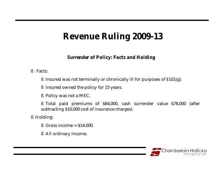 Revenue Ruling 2009-13                   Surrender of Policy: Facts and Holding  § Facts:     § Insured was not terminally...