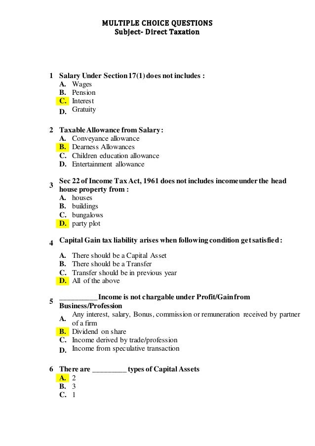 MULTIPLE CHOICE QUESTIONS ON DIRECT TAXATION