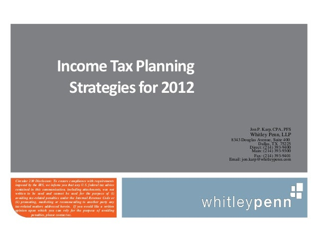 Income Tax Planning                             Strategies for 2012                                                       ...