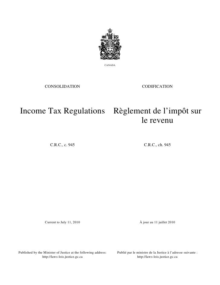 CANADA                  CONSOLIDATION                                                        CODIFICATION Income Tax Regul...