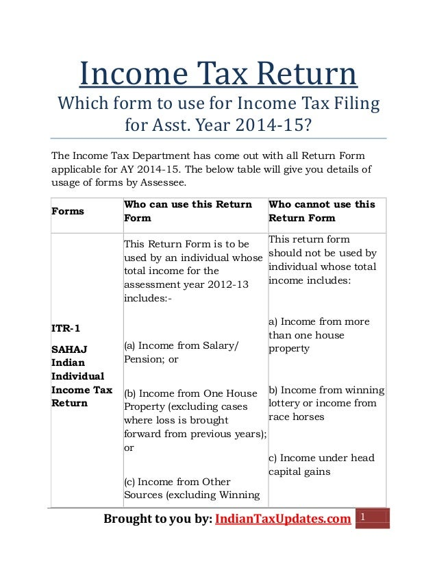 Brought To You By: IndianTaxUpdates.com 1 Income Tax Return Which Form To  Use ... For Income Assessment Form