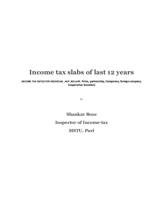 Income tax slabs of last 12 years                                              Firms, partnership, Companies, foreign comp...