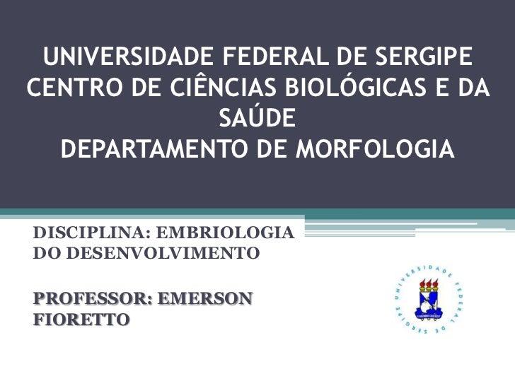 UNIVERSIDADE FEDERAL DE SERGIPECENTRO DE CIÊNCIAS BIOLÓGICAS E DA              SAÚDE  DEPARTAMENTO DE MORFOLOGIADISCIPLINA...