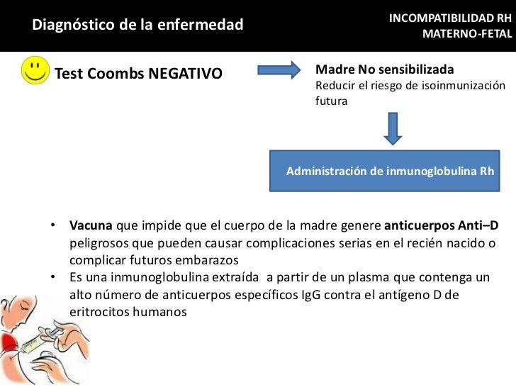 INCOMPATIBILIDAD RHDiagnóstico de la enfermedad                                    MATERNO-FETAL   Test Coombs NEGATIVO   ...