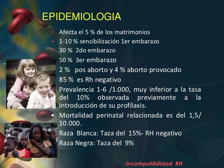 EPIDEMIOLOGIA •   Afecta el 5 % de los matrimonios •   1-10 % sensibilización 1er embarazo •   30 % 2do embarazo •   50 % ...