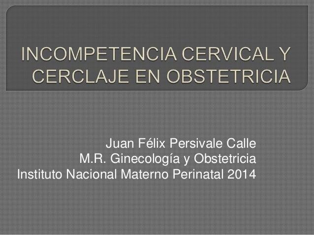 Juan Félix Persivale Calle M.R. Ginecología y Obstetricia Instituto Nacional Materno Perinatal 2014